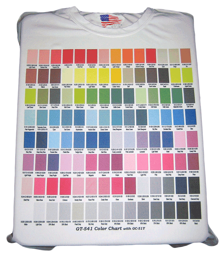 Color-Chart-T-Shirt-Direct-to-garment