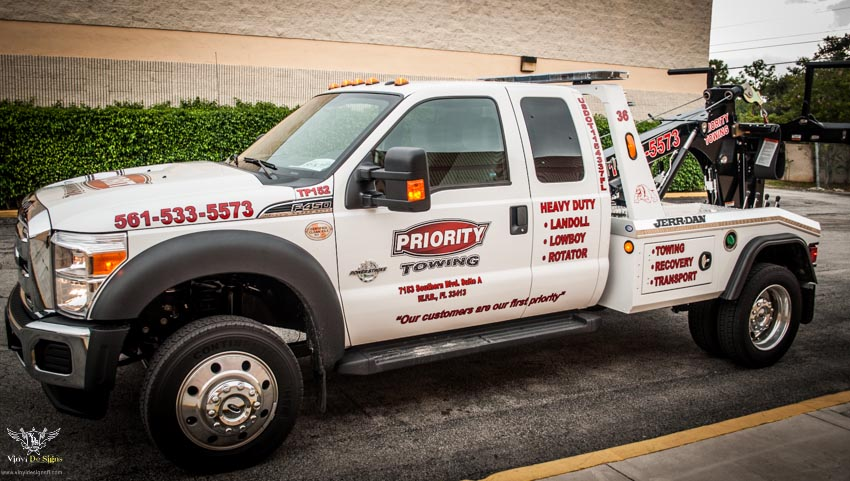 priority towing 450 tow truck lettering job at vinyl de signs 6 of 6